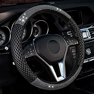 LABBYWAY Steering Wheel Cover Universal Fit 15 inch, with Bling Bling Crystal Rhinestones, Diamond Leather Steering Wheel ...