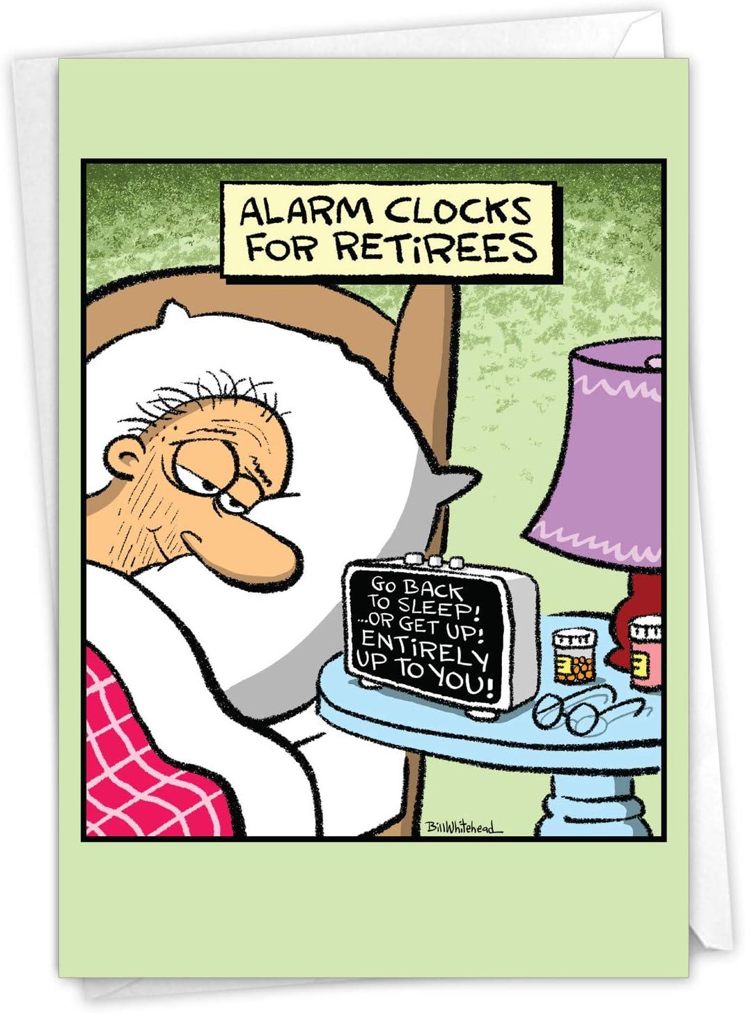 NobleWorks   Retiree Alarm Clock   Funny Cartoon Retirement Greeting Card  with Envelope C20RTG US