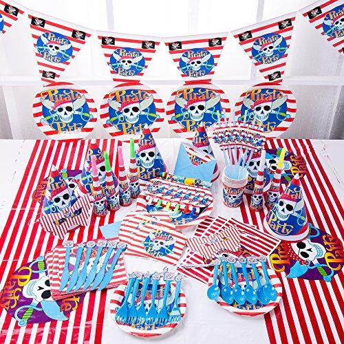 Plato taza Nesloonp vajilla de fiesta 48 piezas juego de vajilla de fiesta temática pirata juego de decoración de fiesta de cumpleaños pirata para 6 niños, fiesta de cumpleaños infantil
