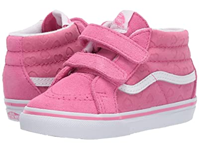 Vans Kids Sk8-Mid Reissue V (Infant/Toddler) ((Hearts) Azalea Pink/True White) Girls Shoes