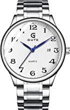 Gute Quartz Watches for Men - Unisex Business Sports Analog Watch with Date, Waterproof Luminous Stainless Steel Band Wrist Watch