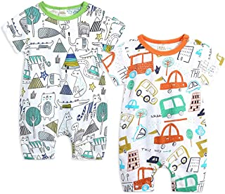 MAOMAHREWW Toddler Baby Boys Girls Long Sleeve Print Cotton Zipper Romper Jumpsuit