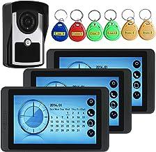 Videodeurbel, Intercom, Huisbeveiligingssysteem, Bekabelde 7-Inch Videodeurtelefoon, 3 Touchscreenmonitoren + IR-Nachtzich...