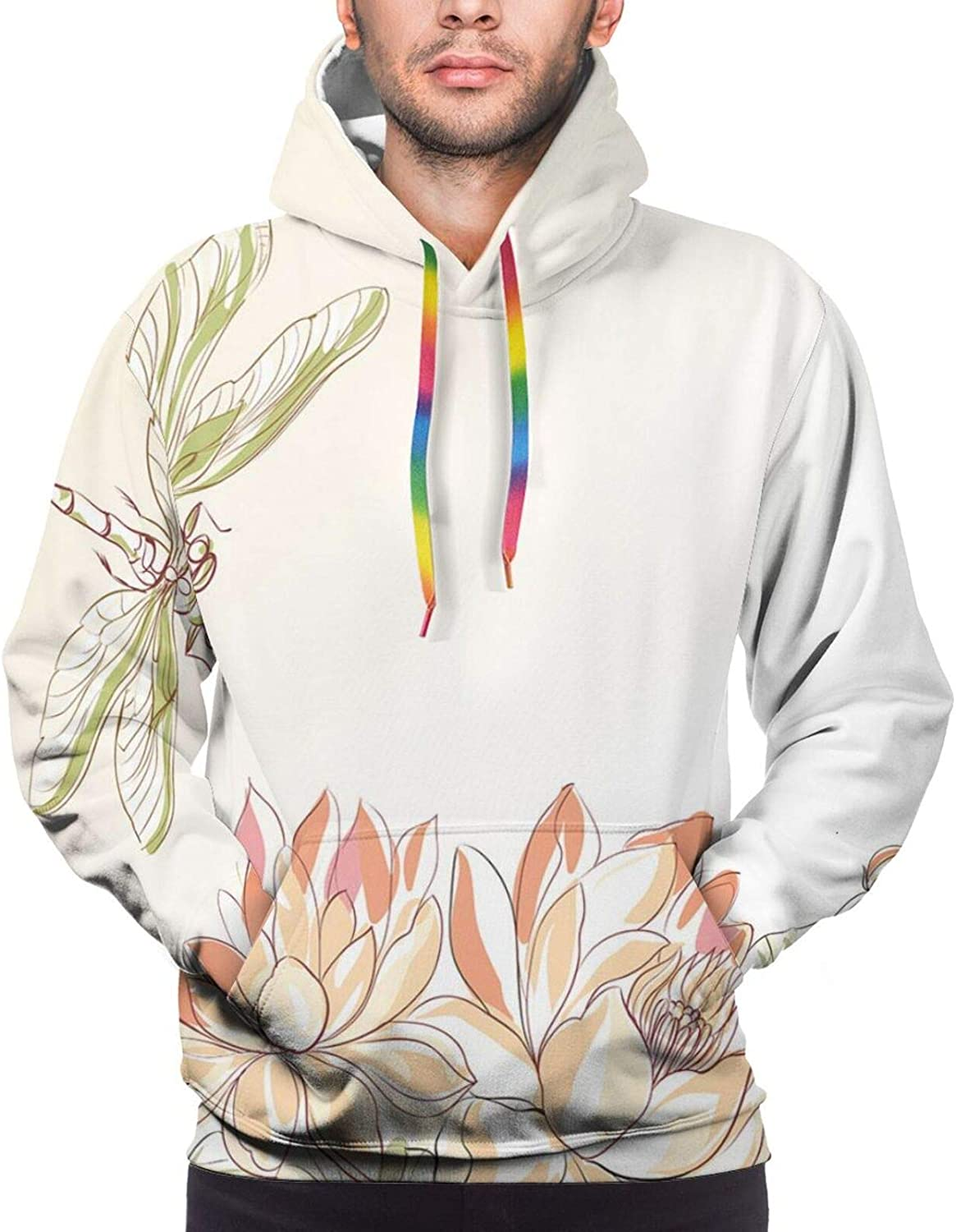 Men's Hoodies Sweatshirts,Lots of Different Size Roses Like Garden Artistic Creative Graphic Design for Sweetheart