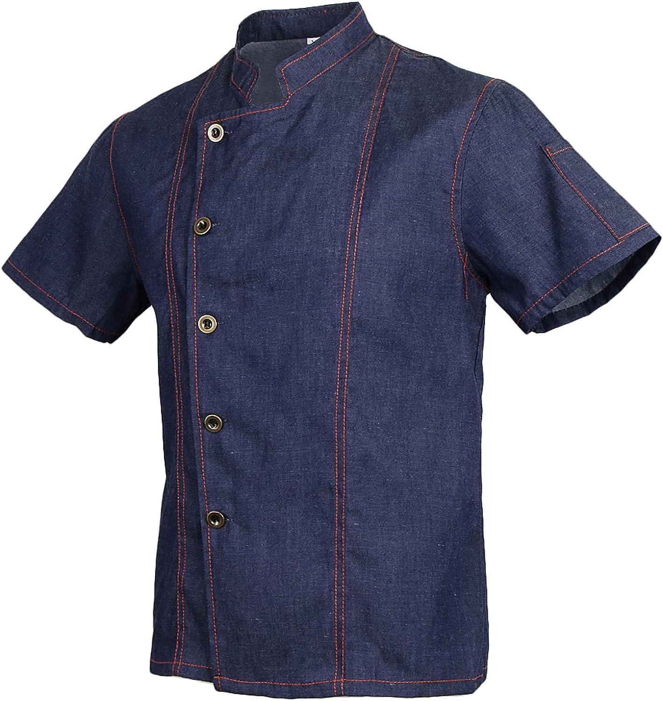 Homyl Unisex Topstitched Chef Jacket Coat Luxury Breasted Short quality assurance Single
