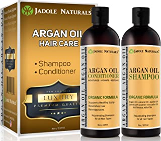Jadole Naturals Organic Moroccan Argan Oil Hair Shampoo and Conditioner Treatment Set For All Hair Types, Infused with Ker...