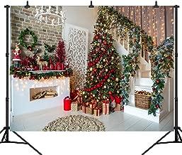 DePhoto 10X8FT Christmas Tree Fireplace Portrait Backdrop Wooden Floor Stairs Photography Seamless Vinyl Photo Background Studio Prop PGT472C