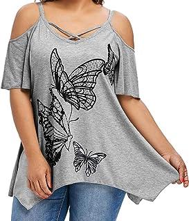 Dubocu Women's Butterfly Printing T-Shirt Short Sleeve Tops Blouse Size