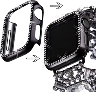 VIQIV Bling Protective Face Bumper Case Cover for Compatible with Apple Watch 38mm 42mm 40mm 44mm, Crystal Diamond Plate Frame Compatible with Apple iWatch Series 4 3 2 1