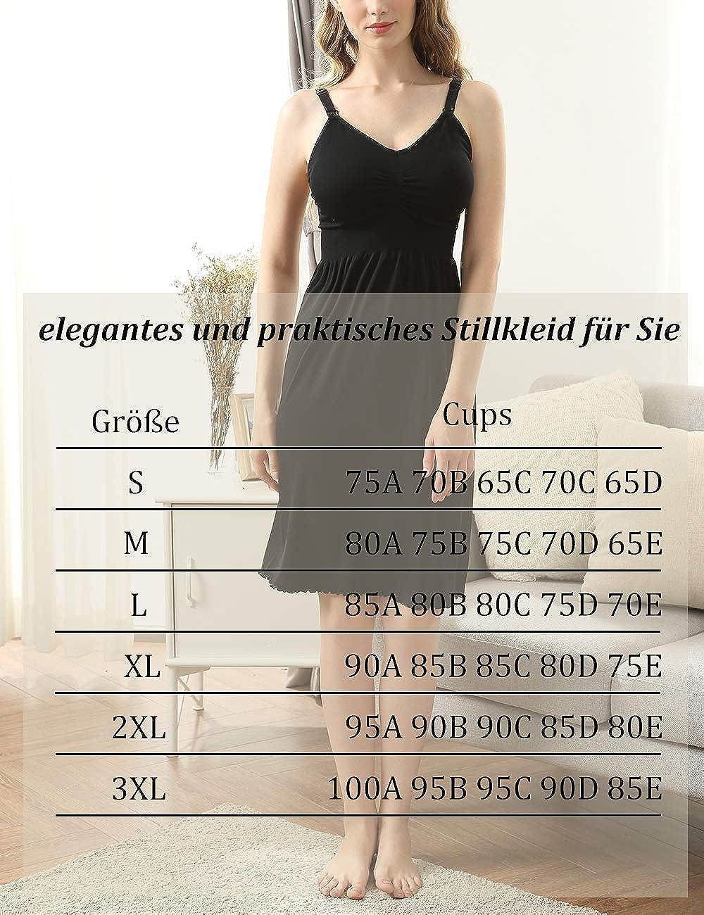 iloveSIA Damen 3 in 1 Stillkleid elegant Umstandskleid mit Stillfunktion