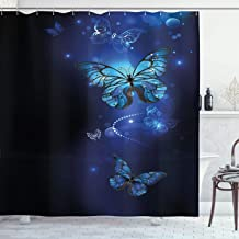 Ambesonne Dark Blue Shower Curtain, Fantasy Magical Butterflies Monarch Artistic Morpho Inspiration Animal, Fabric Bathroom Decor Set with Hooks, 84 Inches Extra Long, Cobalt Blue Black