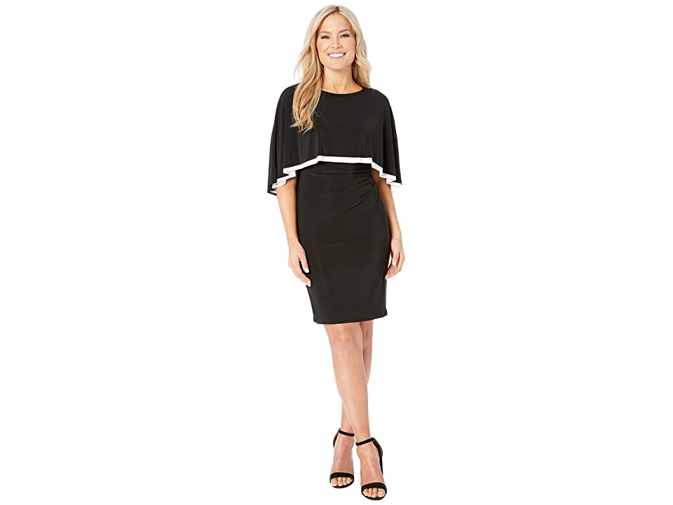 LAUREN Ralph Lauren Petite Matte Jersey Abriel Dress (Black/Lauren White) Women