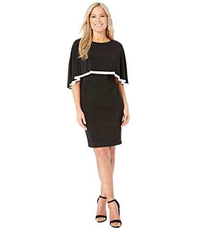 LAUREN Ralph Lauren Petite Matte Jersey Abriel Dress (Black/Lauren White) Women