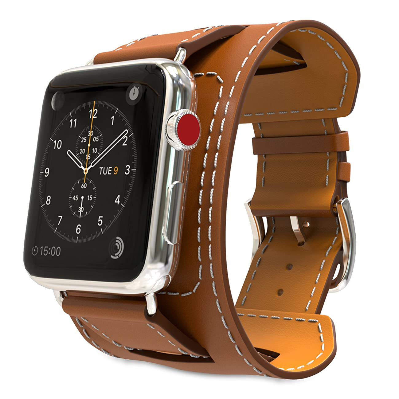 MoKo Compatible Band Replacement for Apple Watch 42mm 44mm Series 4/3/2/1, Genuine Leather Smart Watch Band Cuff Replacement Strap - Brown (Not Fit 38mm 40mm Versions)