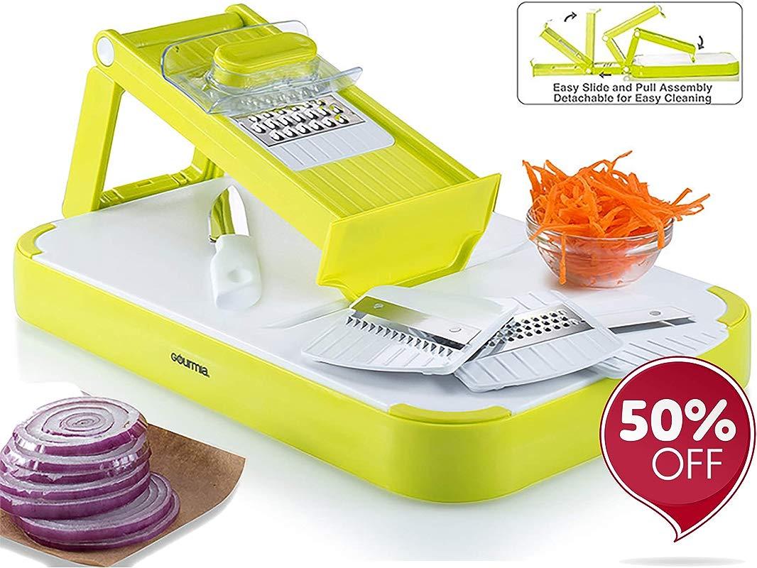 Gourmia GMS9255 Mandoline Slicer Cutting Board Set Kitchen Slicer Food Prep Board Combo With 4 Interchangeable Blades FREE Bonus Knife Durable