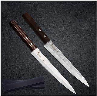 Sashimi gauche en acier inoxydable main poisson Couteau de style japonais Sushi viande lame tranchante couleur bois poigné...