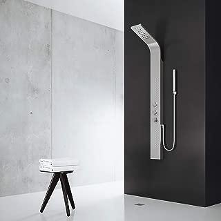 VIGO Sutherland Rain Waterfall Shower Panel with Jets and Hand Shower, Stainless Steel