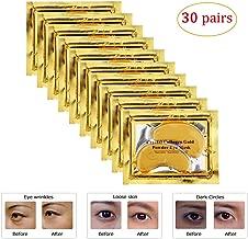Genuva 30 Pairs Gold Collagen Eye Masks Powder Crystal Gel Masks For Anti Aging, Remove Bags, Anti Wrinkles, Moisturizing & Hydrating (Gold)