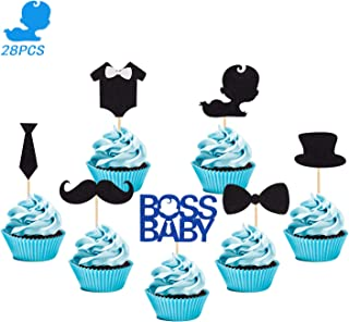 28 Pcs BO-SS BABY Cupcake Toppers for Boys Girls Kids Baby Shower Mustache Tie Hat Bows Clothes Birthday Party Supplies Glitter Decorations