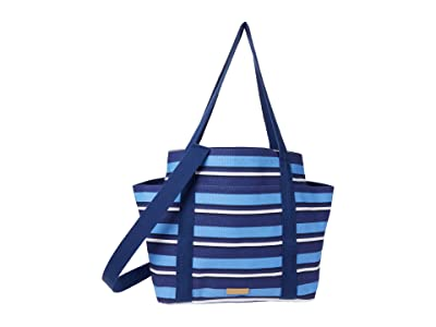Vera Bradley Deluxe Canvas Tote (Navy Beach Stripe) Handbags