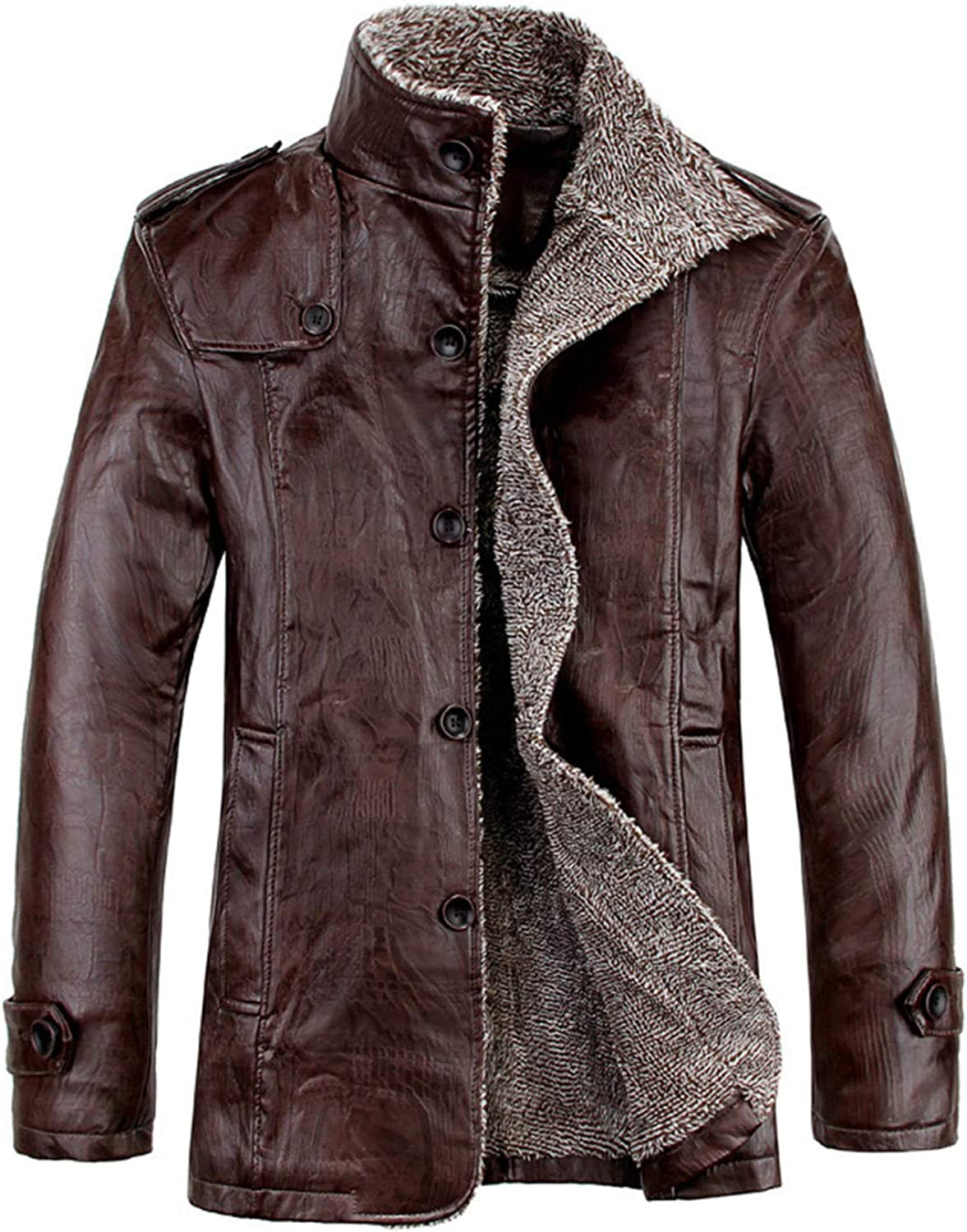 Men's Winter Warm Fur Quantity limited Collar Fleece Lined Bo Today's only Jacket Stand