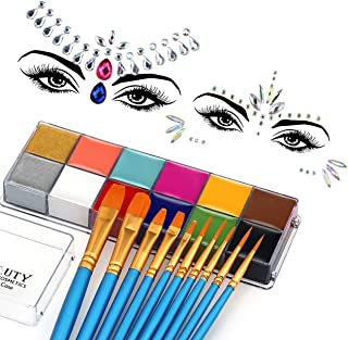 CCBeauty Face Body Paint 12 Colors Oil Based Halloween Art Party Fancy Set with 10 Blue Brushes,2 Packs Face Jewels Rhines...