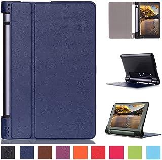 Asng Lenovo Yoga Tab 3 8 ケース Lenovo Yoga Tab 3 8 専用保護カバー 超薄型 超軽量 スタンドカバー PUレザーケース (紺色)