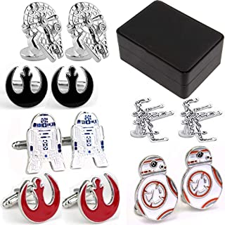 Geek & Glitter Star Wars Cufflink Set with Box   18 Styles to Choose from   Darth Vader, Millennium Falcon, Boba Fett, The Last Jedi Gifts, A New Hope, Gifts for Men