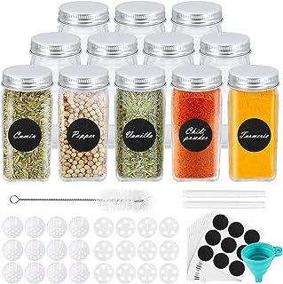 Gifort Pots à Epices en Verre, Lot de 12 Bocaux à Epices Carrés 120 ml avec 72 Etiquettes, 2 Stylos et 1 Entonnoir en Sili...