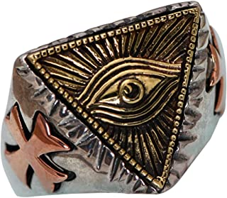 Two Tone 925 Sterling Silver Freemason Masonic All Seeing Eye Ring for Men Women Adjustable Size 8-11