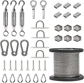 Byshun Outdoor Light Hanging Kit,Globe String Light Suspension Kit,164ft Stainless Steel Cable Light Guide Wire Rope with Turnbuckles and Hooks for Patio,Backyard Lighting Accessories