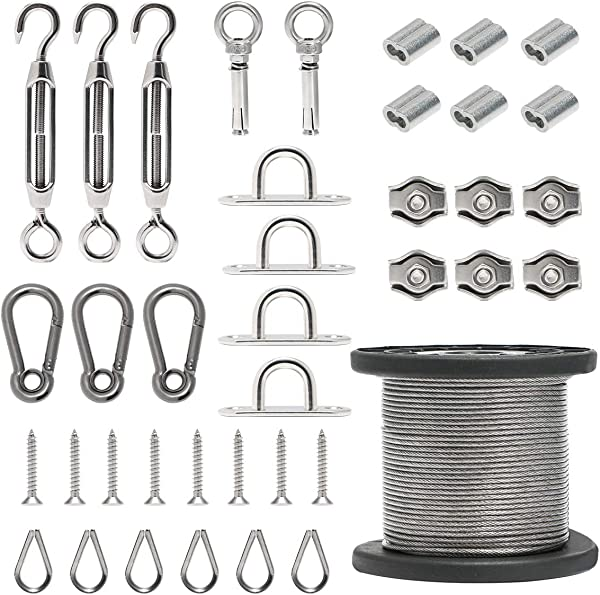 Byshun Outdoor Light Hanging Kit Globe String Light Suspension Kit 164ft Stainless Steel Cable Light Guide Wire Rope With Turnbuckles And Hooks For Patio Backyard Lighting Accessories