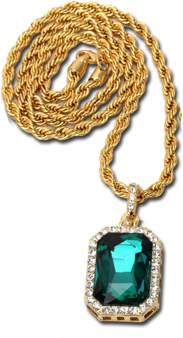 14K Gold Plate Iced Out Hip Hop Emerald Green Gem Jewelry Bling Bling Pendant Necklace for Men 30 Inches Chain Included