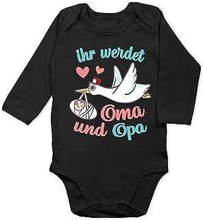 Shirtracer Zur Geburt - Ihr werdet Oma und Opa - Storch - Baby Body Langarm