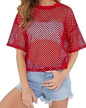 CLOZOZ Women's Mesh Cover Up See Through Fishnet T-Shirt Crop Top