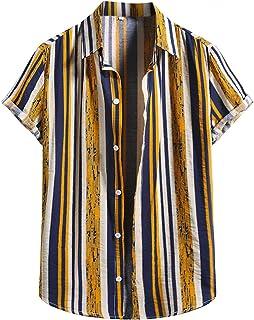 Men's Cotton Linen Striped Print Shirts Short Sleeve Button Down Hawaiian Shirt Blouse Casual Beach Tops Fashion 2021
