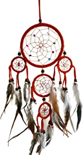 Moose546 Orange Dream Catchers Hanging Ornaments with Feathers and Beads 4.5