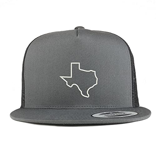 d2171289 Trendy Apparel Shop Texas State Outline Embroidered 5 Panel Flat Bill  Trucker Mesh Back Cap