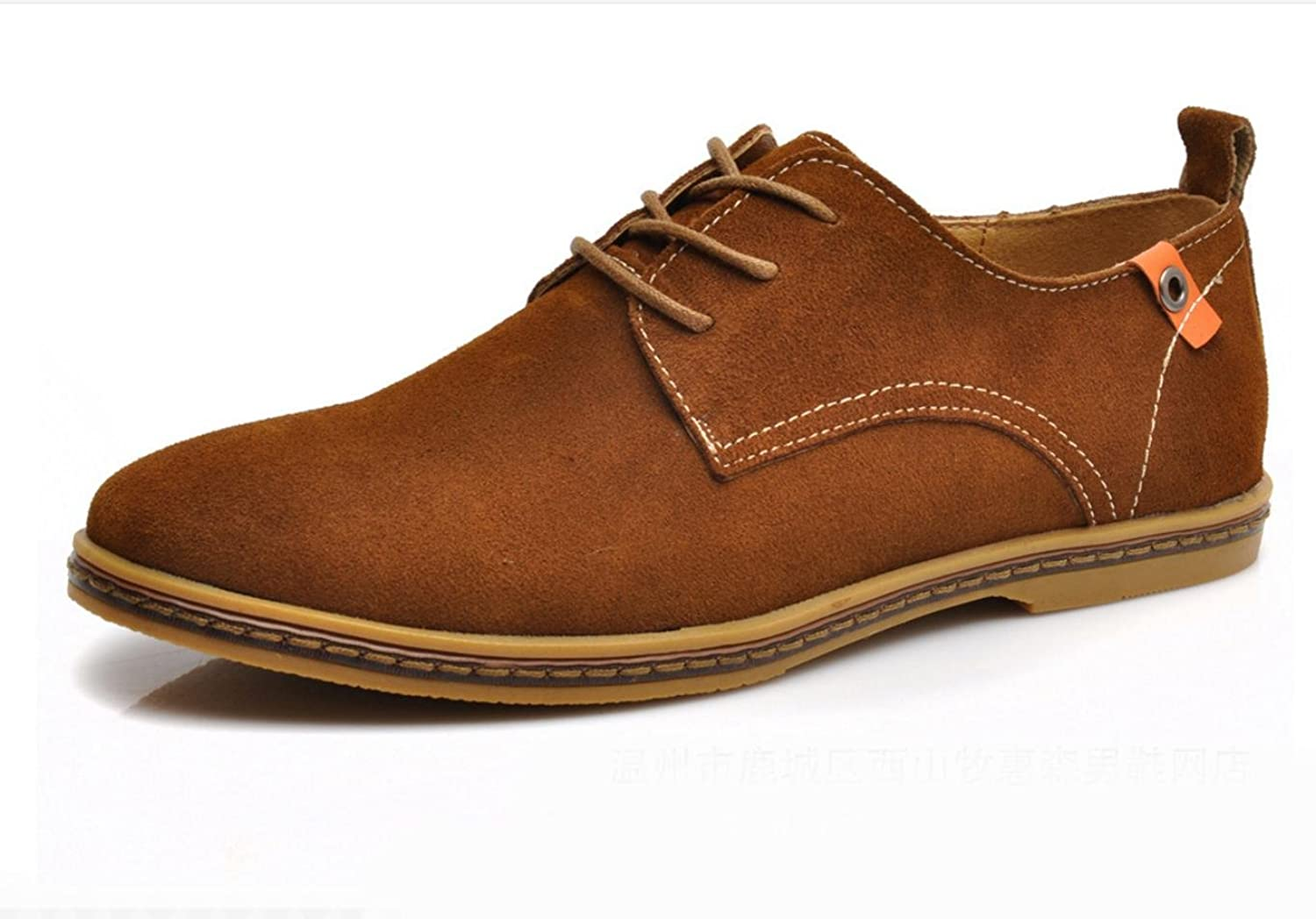 WZG New fall men 's fashion suede leather men' s shoes casual shoes flat shoes 9.5 , orange , 43