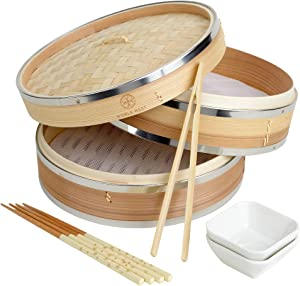 Noble Nest Deluxe Bamboo Steamer Basket -Food Steamer for Cooking - Use as Dumpling Maker, Vegetable Steamer or Japanese Rice Cooker - Two Tiered 10