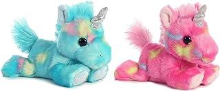 Bundle of 2 Aurora Stuffed Beanbag Animals - Blueberry Ripple Unicorn & Jellyroll Unicorn
