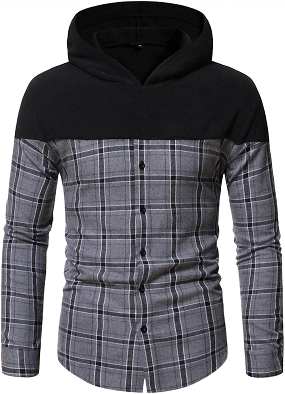 Hoodies for Men,Casual Color Block Plaid Mens Hooded Sweatshirt Long Sleeve Checked Button Shirts Soft Sweater
