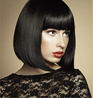 Daicyneo Black Bob Wigs for Women Short Straight Hair Wigs with Bangs Natural Synthetic Full Wigs for Party Cosplay Halloween (Black) DC001BK