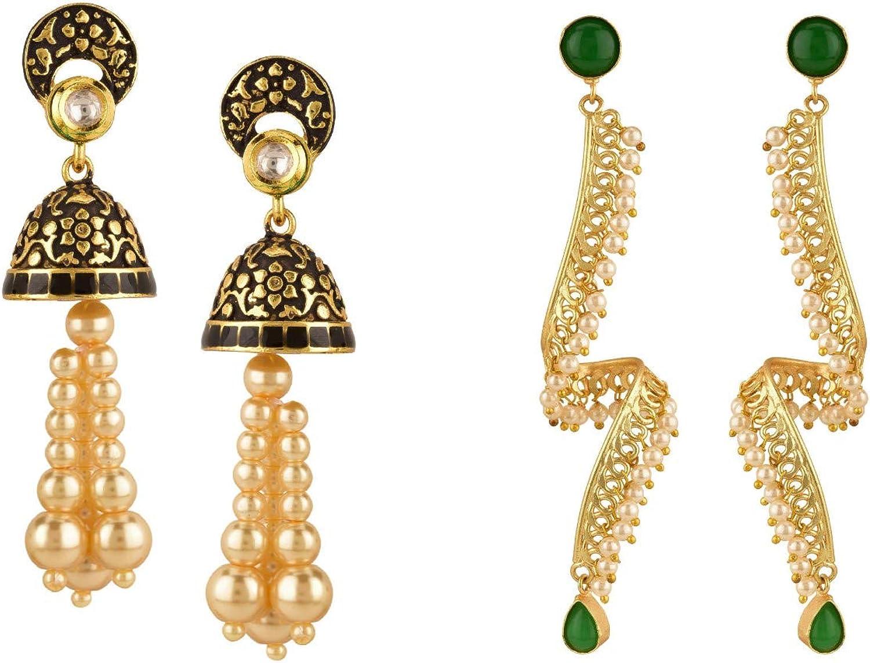 Efulgenz Indian Bollywood Jewelry Crystal Pearl Dangle Drop Big Earrings Set of 2