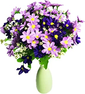 Artificial 4Pcs Artificial Small Daisy Silk flowers Bunches Fake Daisy Flowers Faux Plant for Home Hotel Office Wedding Party Garden Decor(Light Purple)