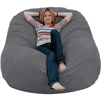 Cozy Sack 6-Feet Bean Bag Chair, Large, Grey