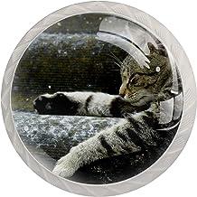 Lade handgrepen kabinetknoppen knoppen rond Pack van 4 voor kast, lade, borst, dressoir etc. kat dier liggend