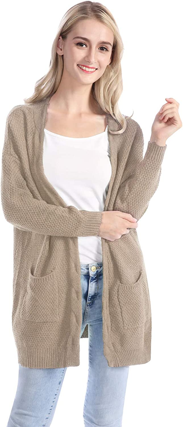 Mavis Laven Womens Loose Open Front Long Sleeve Knit Cardigans with Two Packets