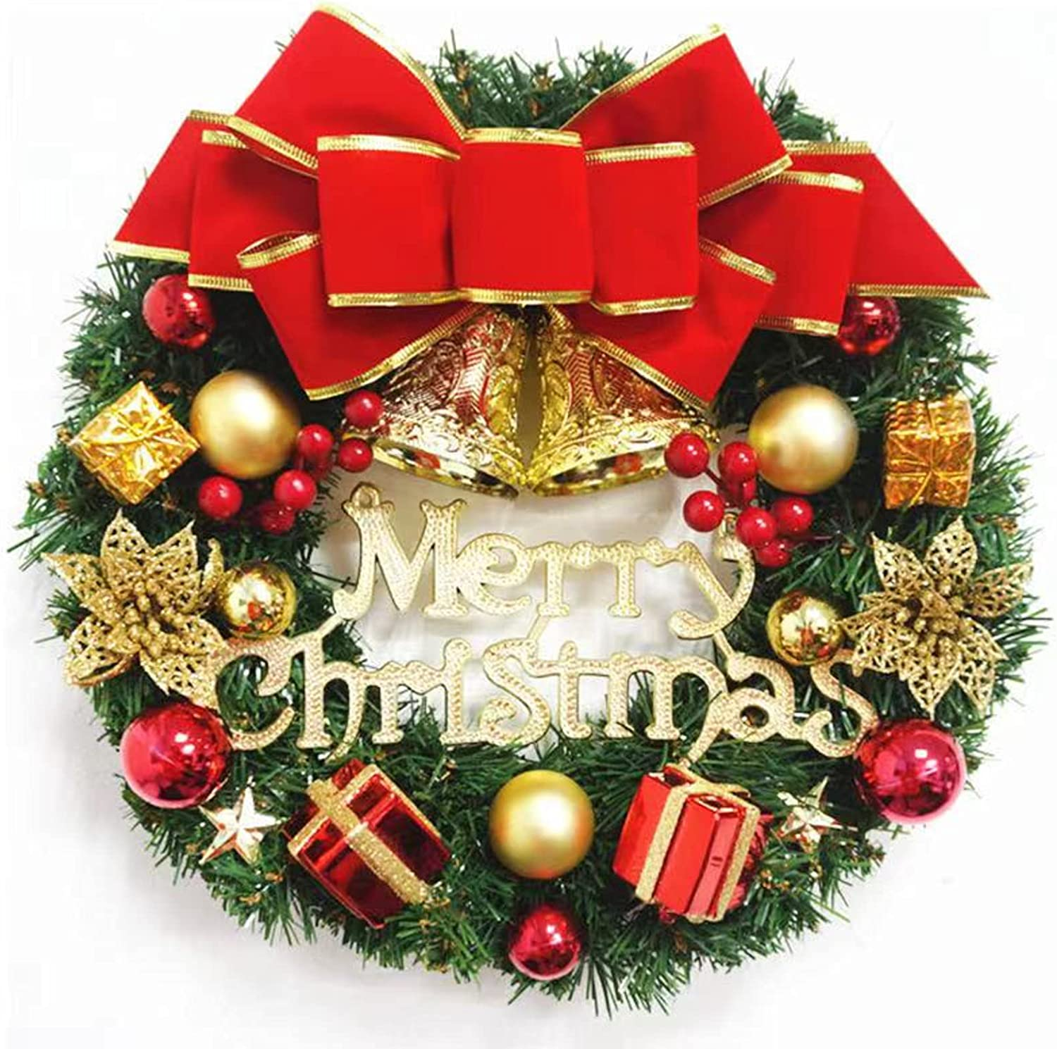 MNHGFD 12 Inch Christmas 2021 new Wreath Bowknot Merry Garland with In a popularity Bells