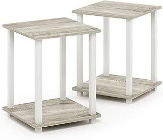 Furinno Simplistic End Table, Sonoma Oak/White